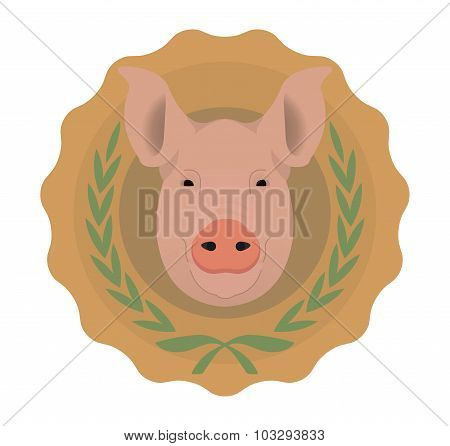 Butchery vector logo. Pig head in laurel wreath. No outline