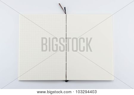 Opened notepad on white background.