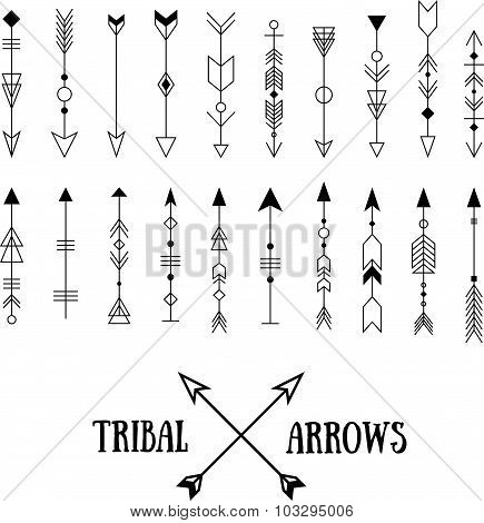 Set Of Hipster Tribal Arrows Isolated On White. Line Vintage Vector Design Collection. Ethnic Ink Se