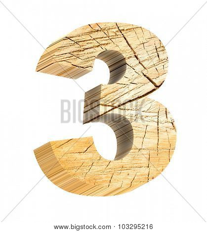 Number from wooden alphabet set isolated over white. Computer generated 3D photo rendering.
