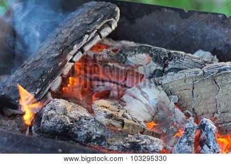 The burning coals in a brazier