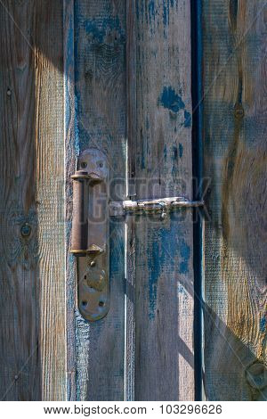 Old Wooden Blue Door With Handle