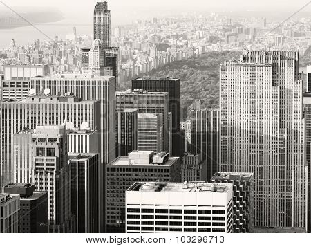 Black and white urban scene in Midtown New York City with a view of Central Park