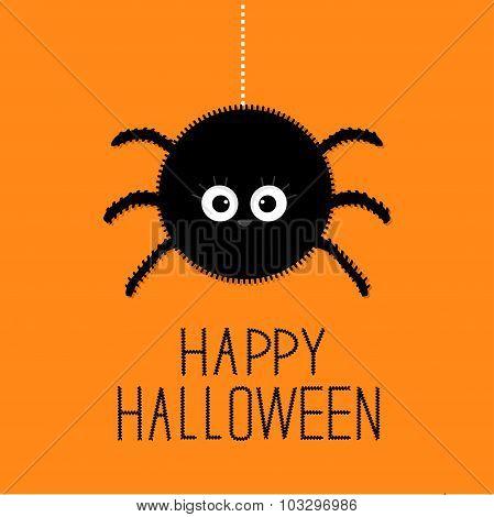 Big Hanging Fluffy Spider. Happy Halloween Card. Flat Design