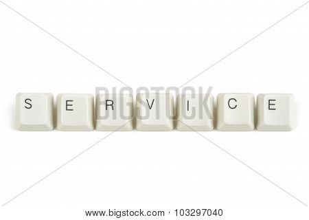 Service From Scattered Keyboard Keys On White
