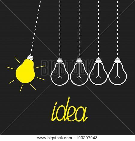 Five Hanging Yellow Light Bulbs. Perpetual Motion. Idea Concept. Grey Background. Flat Design