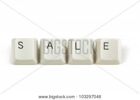Sale From Scattered Keyboard Keys On White