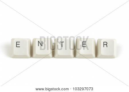 Enter From Scattered Keyboard Keys On White
