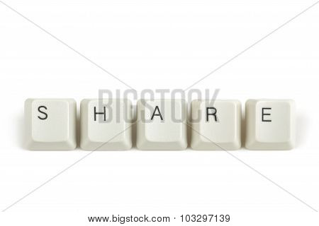 Share From Scattered Keyboard Keys On White