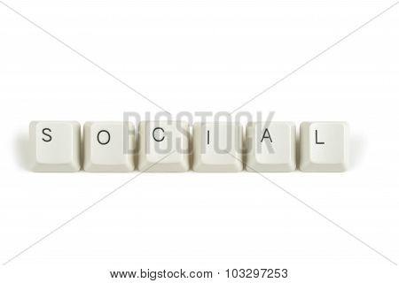Social From Scattered Keyboard Keys On White