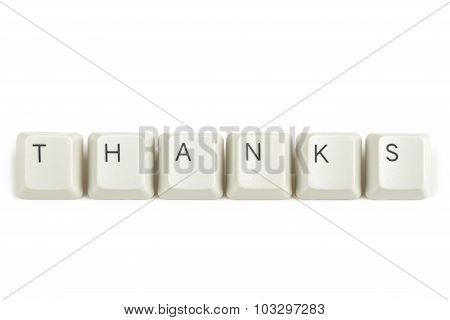 Thanks From Scattered Keyboard Keys On White