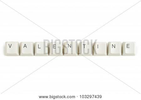 Valentine From Scattered Keyboard Keys On White