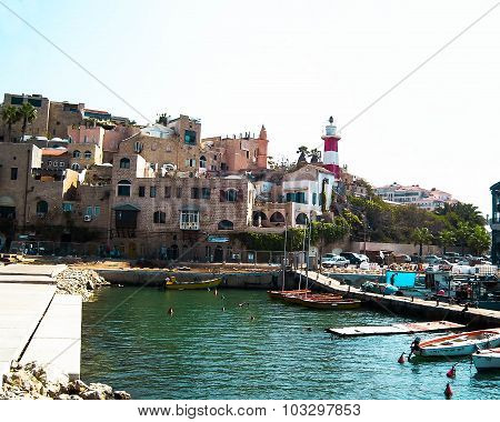 Panoramic View Of Old Jaffa Historic Buildings And Ancient Port Mooring., Israel