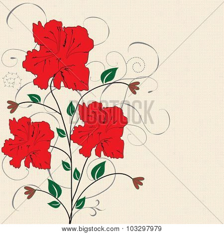 Vintage invitation card with elegant retro abstract floral design, red flowers on tan. Vector illustration.