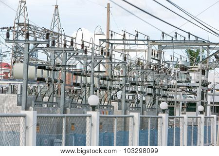 Electric Power-plant Transformer Station Area.