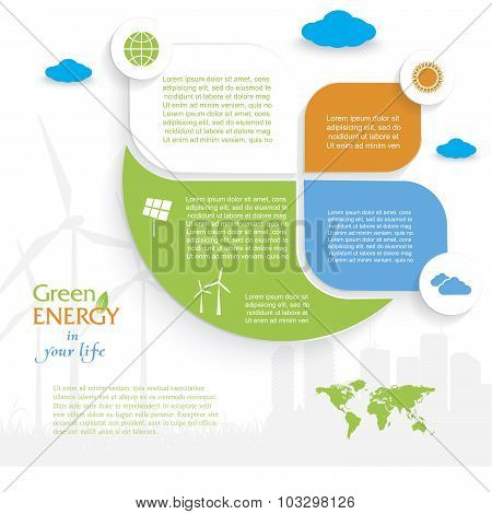Vector Infographic Design, Green Energy Concept.