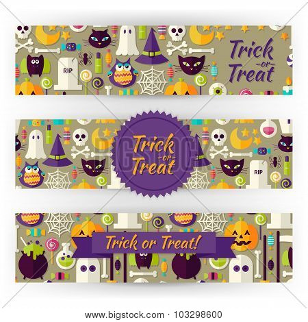 Halloween Holiday Vector Template Banners Set In Modern Flat Style