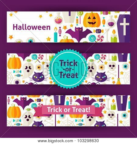 Halloween Trick Or Treat Vector Template Banners Set In Modern Flat Style