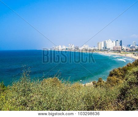 Sea Coast And The View Of The Tel Aviv From Old Jaffa At The Evening