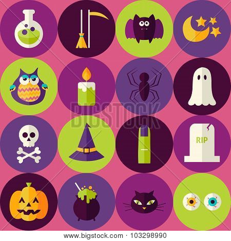 Flat Halloween Scary Witch Seamless Pattern With Colorful Circles