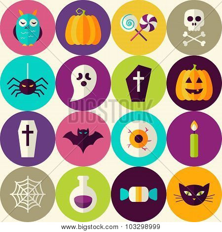Flat Halloween Trick Or Treat Seamless Pattern With Colorful Circles