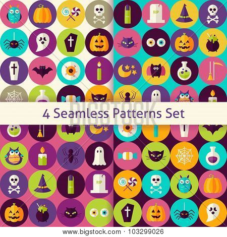 Four Vector Flat Halloween Party Patterns Set With Colorful Circles