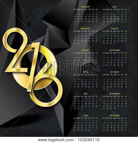 Calendar 2016 Vector Design Template On Abstract Dark Background With Golden Numbers