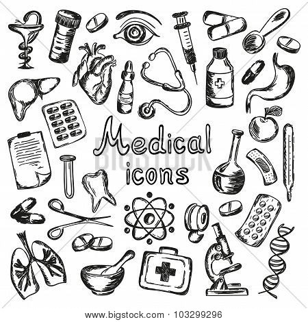 Medical Icons And Elements Of Health