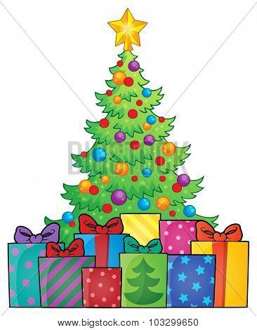 Christmas tree and gifts theme image 1 - eps10 vector illustration.