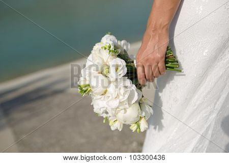 Bride With Wedding Bouquet Peony Flowers