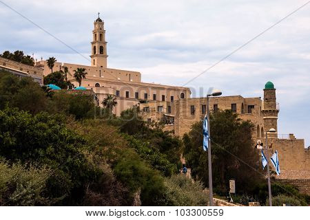 St. Peter Catholic Church And Abbey In Old Jaffa As Seen From Tel-aviv Side