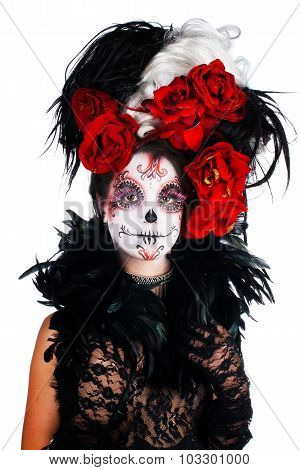 Girl with make-up in the style of Halloween.