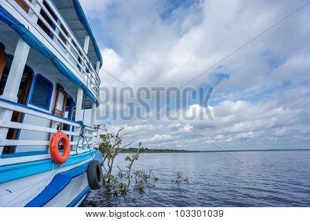 Touristic boat in amazon river