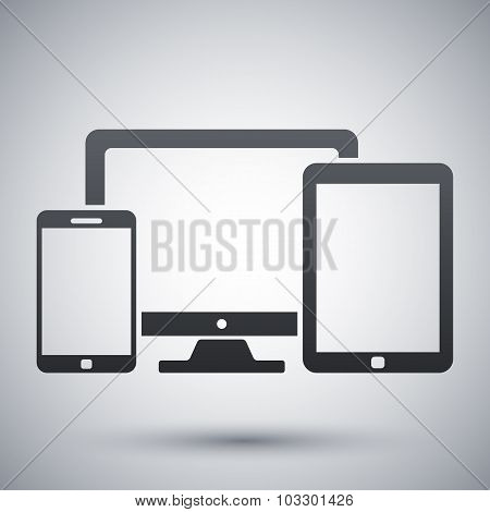 Vector Smartphone, Tablet And Pc Icon