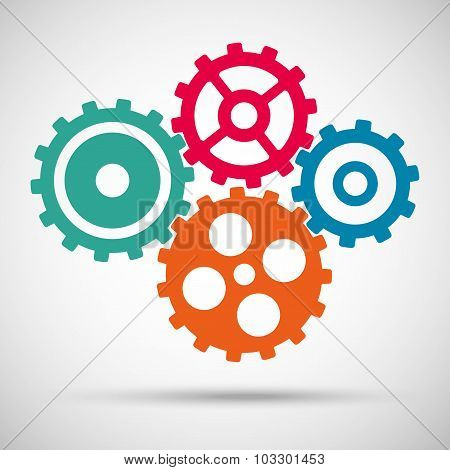 different colored toothed gears (cogs) is meshed on gray background. vector illustration eps10