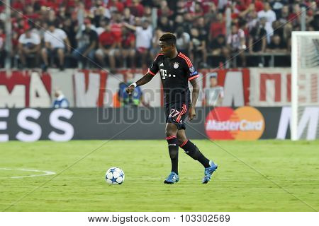 David Alaba During The Uefa Champions League Game Between Olympiacos And Bayern, In Athens, Greece.
