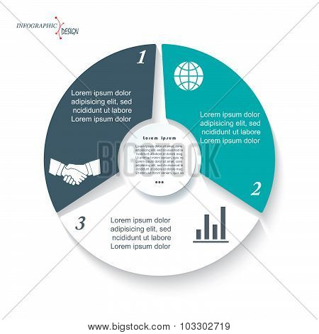 Infographic Template For Business Project Or Presentation With Three Segments. Vector Illustration