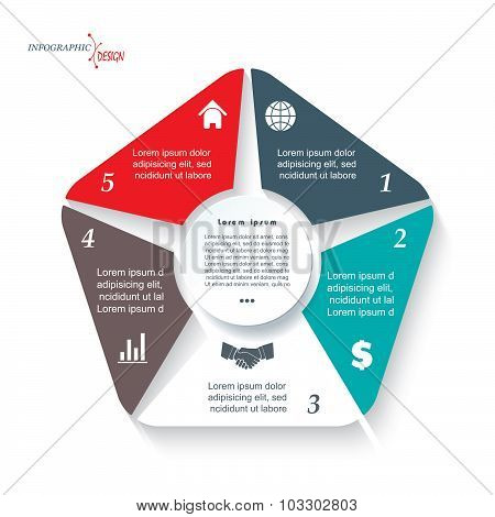 Infographic Template For Business Project Or Presentation With 5 Segments. Vector Illustration