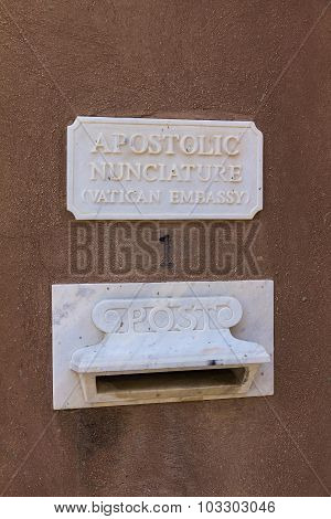 Vatican Embassy Mailbox  In The Holy Land. Jaffa, Israel