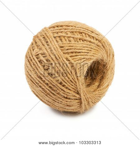Thin natural rope isolated on white background