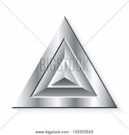 Metal Realistic Geometrical  Triangles On White Background