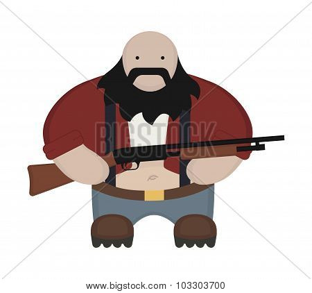 Cartoon redneck in red shirt with shotgun. No outline