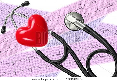 Heart Analysis, Electrocardiogram Graph (ecg), Red Heart And Stethoscope