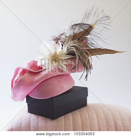 Pink Fashion Races Hat With Flower And Feathers