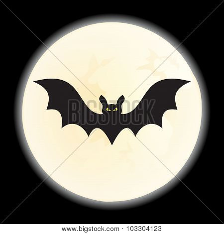 Bat against a disk of the moon