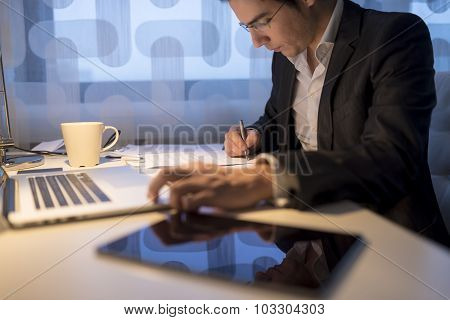 Businessman Or Lawyer, Working Late Business Hours