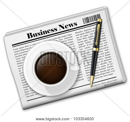 Newspaper With Coffee Cup And Pen