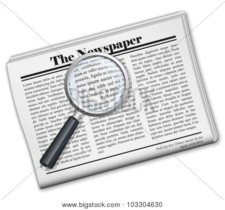Newspaper With Magnifying Glass Icon