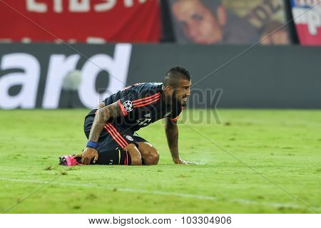 Arturo Vidal During The Uefa Champions League Game Between Olympiacos And Bayern, In Athens, Greece.