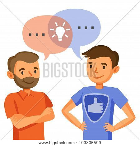 Two Men Talk, Discussion, Exchange Of Ideas, Teamwork, And Programmers.